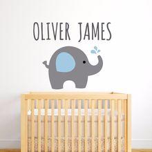 Elephant Wall Decal Customized Name Sticker Vinyl Kids Nursery Bedroom Decoration Elephants Animal Wallpaper AY0106