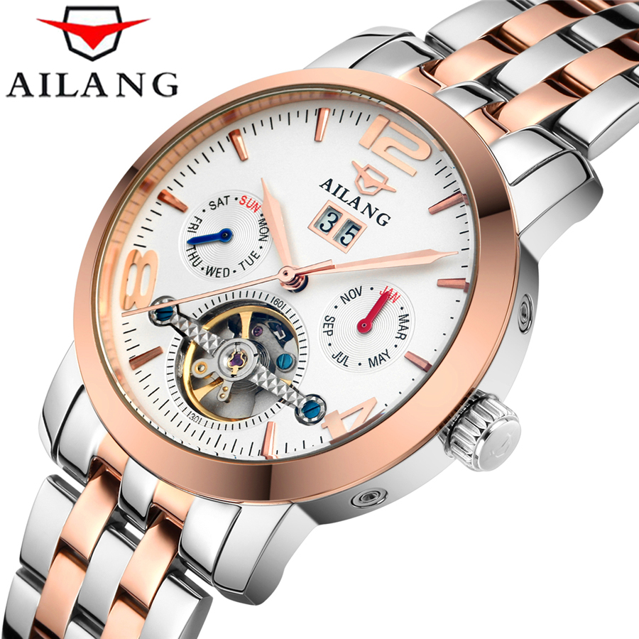 Luxury Watch Men Automatic Mechanical Watches AILANG Brand Tourbillon Male Complete Calendar Clock Military Sport Wristwatch ailang watch men s luxury brand self wind mechanical automatic men watches fashion waterproof alarm clock male