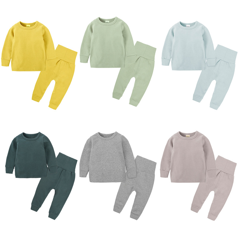 2020 Boys Pure Color Cotton Pajamas Prue With A Long Sleeve Shirt And Trousers 2 Pcs Boy Sets Sets Of Children's Pajamas