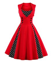 Women's Polka Dot Vintage Style Christmas Cocktail Party Dress