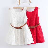 Lace Vest Girls Dress Sleeveless 2 8 Years For Girls Free Belt Girls Dress Vestidos Bebe