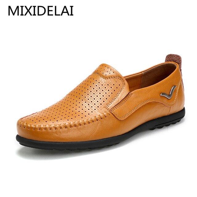 Men Loafers 2017 Casual Boat Shoes moda de cuero genuino Slip On conducción zapatos Moccasins Hollow Out hombres Flats zapatos transpirables