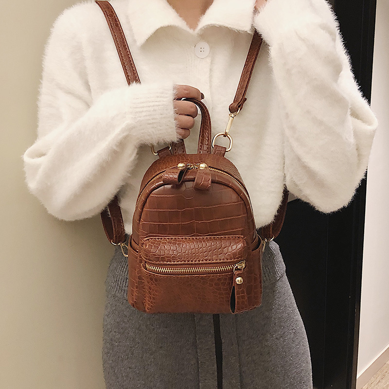 Fashion Women Alligator 2019 Backpack Mini Soft Touch Multi-Function Small Backpack Female Ladies Shoulder Bag Female