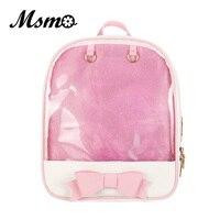 MSMO Kawaii Transparent Heart Window Lolita Student School Bag Backpack Candy Color Lovely Ita Bag Sweet