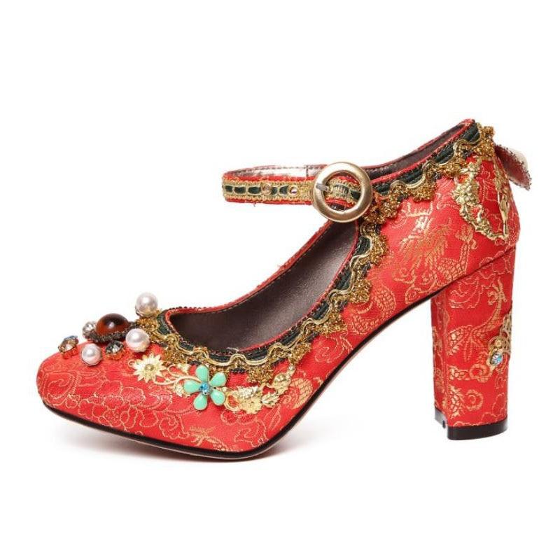 Rojo Bombas Pasarela vino Zapatos Alta Vintage Dedo Tamaño Calzado Tacón Pie Puntiagudo Rizabina Impreso 40 Mujer Calidad Mujeres Tinto 33 Clásico Del De Alto wCpBXXAx1q