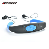 Askmeer IPX8 Waterproof 8GB Underwater Sport MP3 Music Player Neckband Stereo Earphone Audio Headset With FM