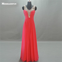 2017 Real Photos A Line Luxuary Beaded Tank See Through Back Chiffon Evening Dress Evening Gown