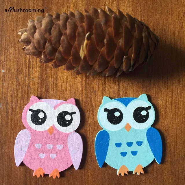 48/PK Cute Handmade Wooden Owl Pink Blue Craft Shapes Pieces for
