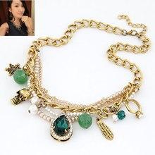 Роскошное барокко Королевское зеленое жемчужное многослойное очаровательное колье ожерелье модное ювелирное изделие для женщин