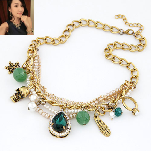 font b Luxury b font Baroque Royal Green Pearls Layers Charms Choker Statement Necklace Fashion