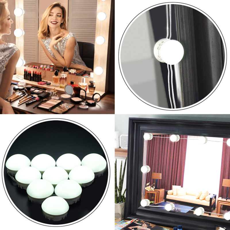 Detonating Hollywood Makeup Mirror Vanity LED Light Bulbs Kit for Dressing Table with Dimmer 10/12 Bulbs USB hollywood style makeup mirror vanity led light bulb kit for dressing table with dimmer power supply plug in linkable ac 100 240v