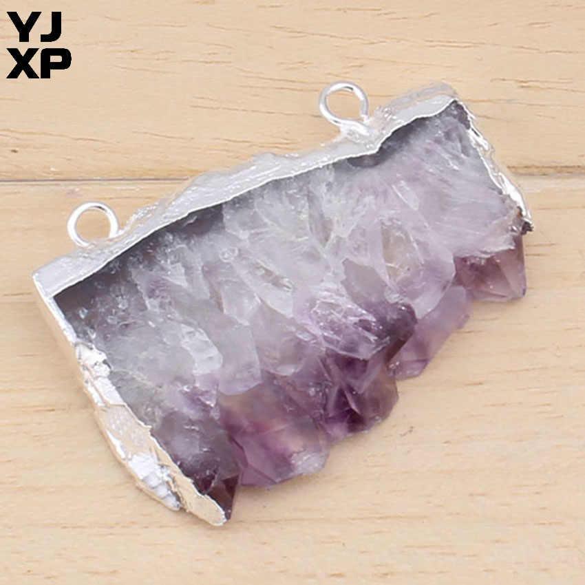 YJXP 1 個シルバーメッキ天然原料クリスタルの Geode スライスパープルアメジスト不規則な Geode 石ペンダントファッションチャームジュエリー