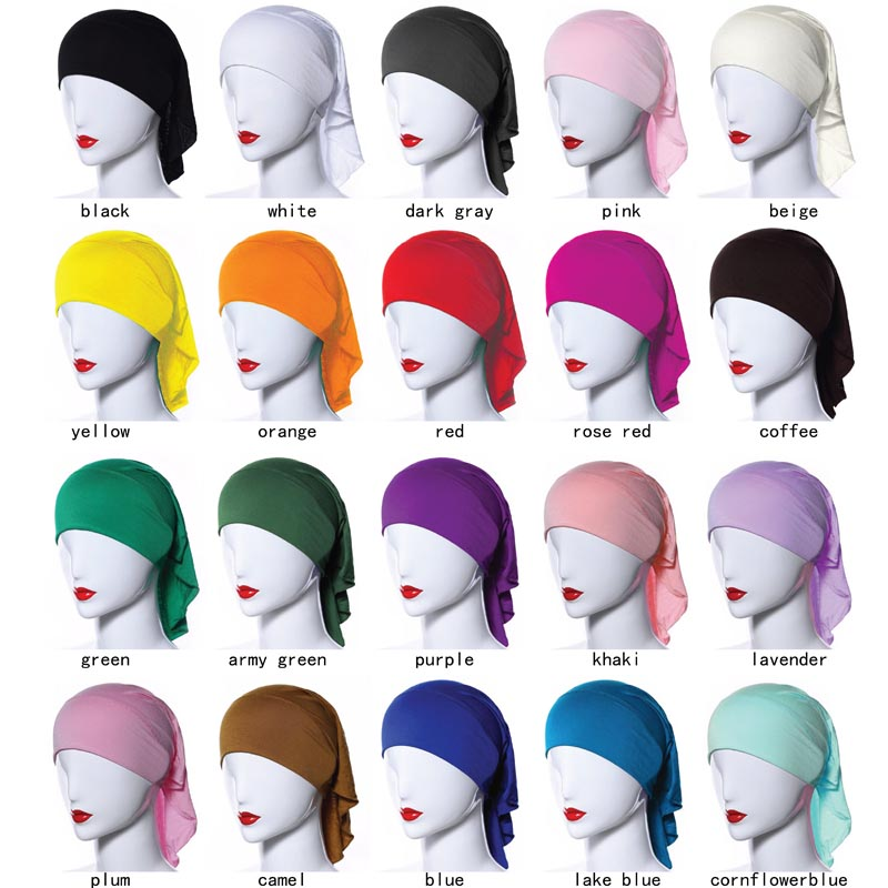 20 colors Muslim hijab Islamic jersey materia solid color islamic inner cap underscarf -inner underscarf 3904