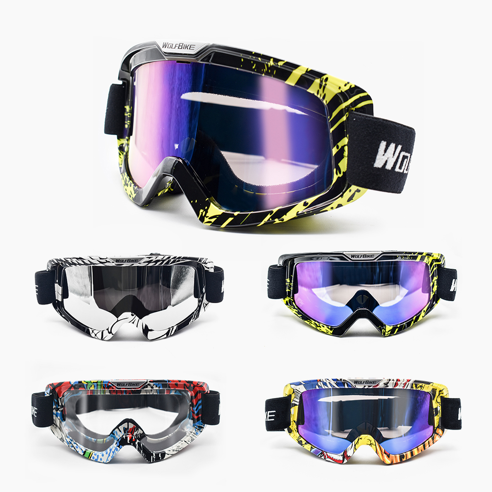 Yellow + Clear Motorcycle Off-Road Vehicle Off-Road Racing Goggles Scratch-Resistant Dust-Proof Curved Glasses With Sports Goggles Ski Goggles Windproof Anti-Glare Lens