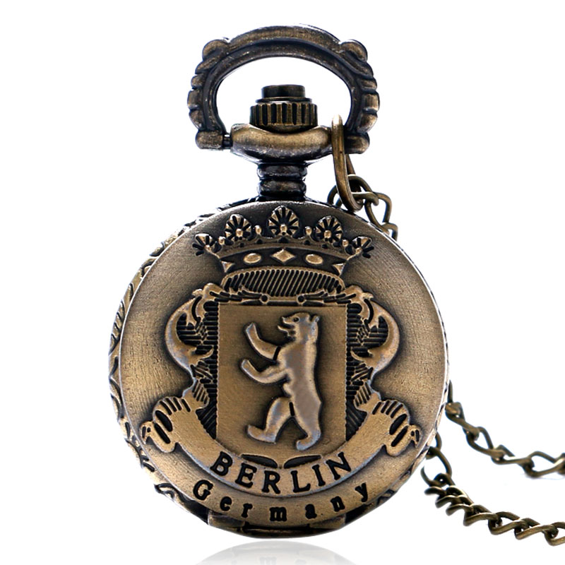 2017 New Arrival Berlin Germany Antique Bronze Small Quartz Pocket Watch Lovely Fob Clock Unisex Gift Item Wiht Necklace