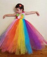 2017 Novo Chegada Doces Rainbow Flower Girl Tutu Dress up Suave Tulle Adolescente Vestidos masi Crianças Pagent Traje Vestido Infantil
