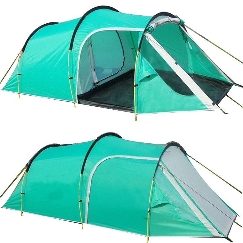 Tunnel Camping En Plein Air Tente Famille Partie Voyager Tente 3-4 Personnes Montagne Tente Une Chambre À Coucher et Un Salon étanche