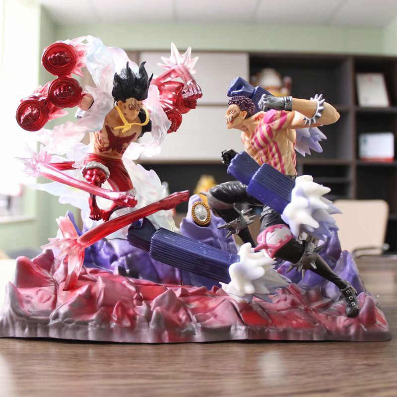 Anime 1/8th Scale Pintada Figura One Piece POP Homem Cobra Luffy Vs. charlotte Katakuri Figura de Ação DO PVC Brinquedos Brinquedos 26 CM