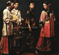 Portrait Canvas Painting Poster Chinese Painting Contemporary Art Museum Collection Traditional Palace Beauties Mural Poster