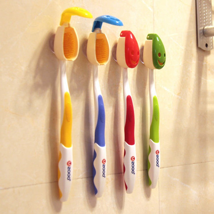 4PCS/lot Creative Smile Face Tooth brush Cover Toothbrush Holders Case Suction Cup Bath Tube Travel HomeColor Random image