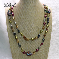 3 strands multi colors pearl necklace long necklace handcrafted beaded chain rainbow color stone necklace 6139
