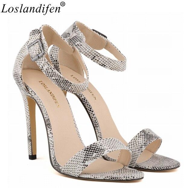 69b1325fa210 Loslandifen Women shoes Sandals snakeskin snake leopard high heels luxury  name brand party shoe Summer peep-toe pumps sandals