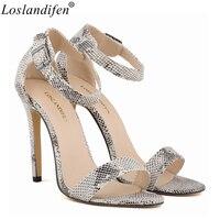 Loslandifen Women shoes Sandals snakeskin snake leopard high heels luxury name brand party shoe Summer peep toe pumps sandals