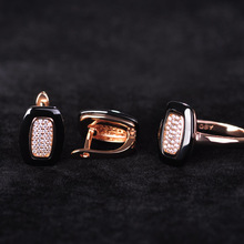 Blucome Black Ceramics Earrings&Rings Jewelry Sets Rose Gold Square Small Brincos AAA Zircon Copper Anel Christmas Schmuck-Sets blucome brand design rose gold color square cubic zircon ceramic earrings ring set chinese porcelain women wedding jewelry sets