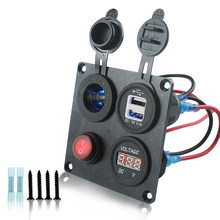 4 in 1 Auto Car Socket Blue Light 2.1A 1A Dual USB Charger Adapter Blue Light Voltmeter with Red Lights 12-24v Universal Switch(China)