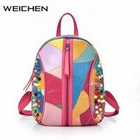Genuine Leather Bags For Women 2017 Sheepskin Colorful Rivet Backpack Ladies School Bag Female Safety Backpacks