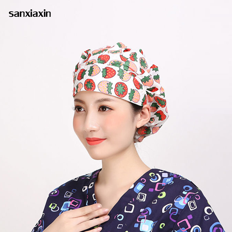 Floral&Fruit Printed Cute Scrub Caps High Quality Adjustable Hat Clinic Hospital Dental Surgical Laboratory Pharmacy Medical Cap
