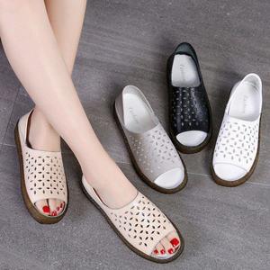 Image 5 - Dobeyping sandalias para mujer planas de piel auténtica, zapatos de verano, calzado de playa, talla grande 35 44