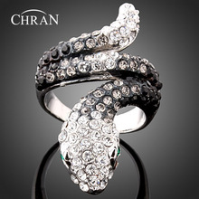 Chran Fashion Rhodium Crystal Women Party Jewelry Promotion Lovely Animal Snake Pattern Engagement Finger Rings for