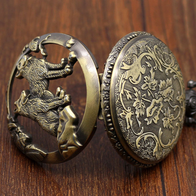 Pocket Watch Relogio De Bolso Bronze Wolf Dog Hollow Quartz Pocket Watch Necklace Pendant Women Men's Gifts  P911C