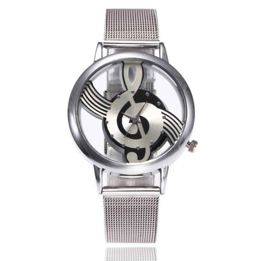 ساعات نسائية عادية موسيقية ملاحظة نمط سوار فولاذي غير قابل للصدأ كوارتز التناظرية ساعة معصم الإبداعية Relogio Feminino دروبشيبينغ