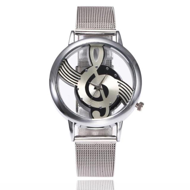 Casual Women Watches Musical Note Pattern Stainless Steel Band Quartz Analog Wri