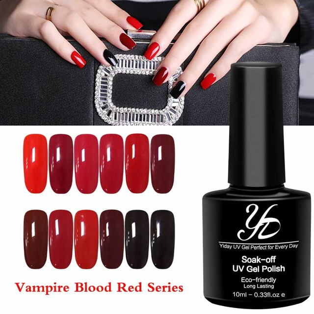 Yiday 1pcs Vire Blood Red Color Soak Off Uv Gel Nail Polish Varnish Fast Dried Curing