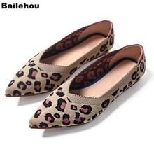 Bailehou New Fashion Spring Women Flats Shoes Leopard Women Shoes Flat Casual Single Shoes Ballerina Women Shallow Female Shoes