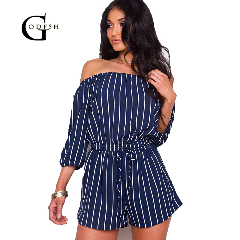 GODFSH Jumpsuits For Women 2018 Strip Playsuits Summer Womens Shorts Sleeve Rompers Womens Jumpsuit Bohemian One piece WH109