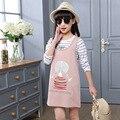 2017 Baby Girls Set Dress Long Sleeve Girl Suits Kid Spring &Autumn Children 2 pcs T-shirt+Dress Clothes Sets Hot Sale