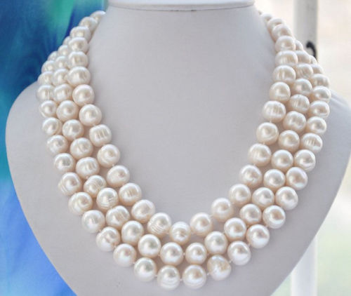 купить FREE SHIPPING>>> Hot sale new Style >>>>>Natural 10-11mm WHITE FRESHWATER Cultured PEARL NECKLACE 60 LL001 недорого