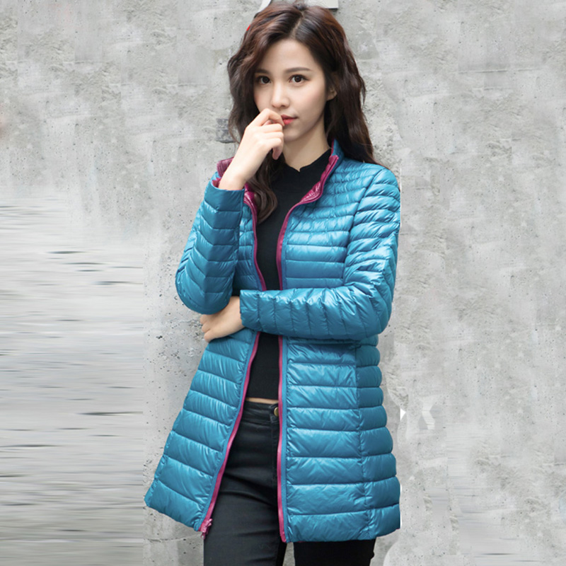 New Fashion Ultra-light whinte duck down Jacket Women Coat Double-Side Wearing down jacket female Two-color long down coatQH1249