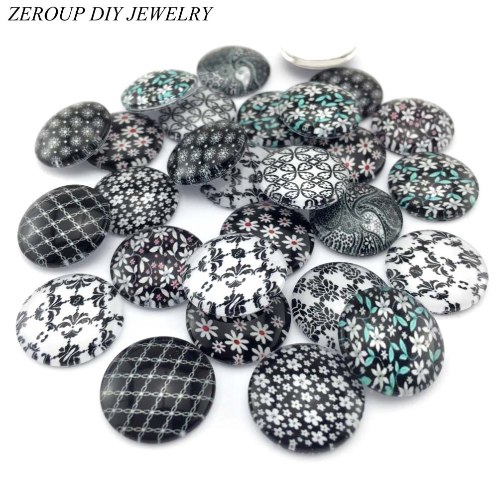 ZEROUP 10pcs/lot 20mm 25mm Round Pattern Glass Cabochon,mixed Patterns Flat Back Handmade Supplies For Jewelry Accessories