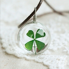 Hot Fashion Crystal glass Ball Clover Necklace Long Strip Leather Chain Dried flowers Pendant Necklaces Women 2016 Jewelry