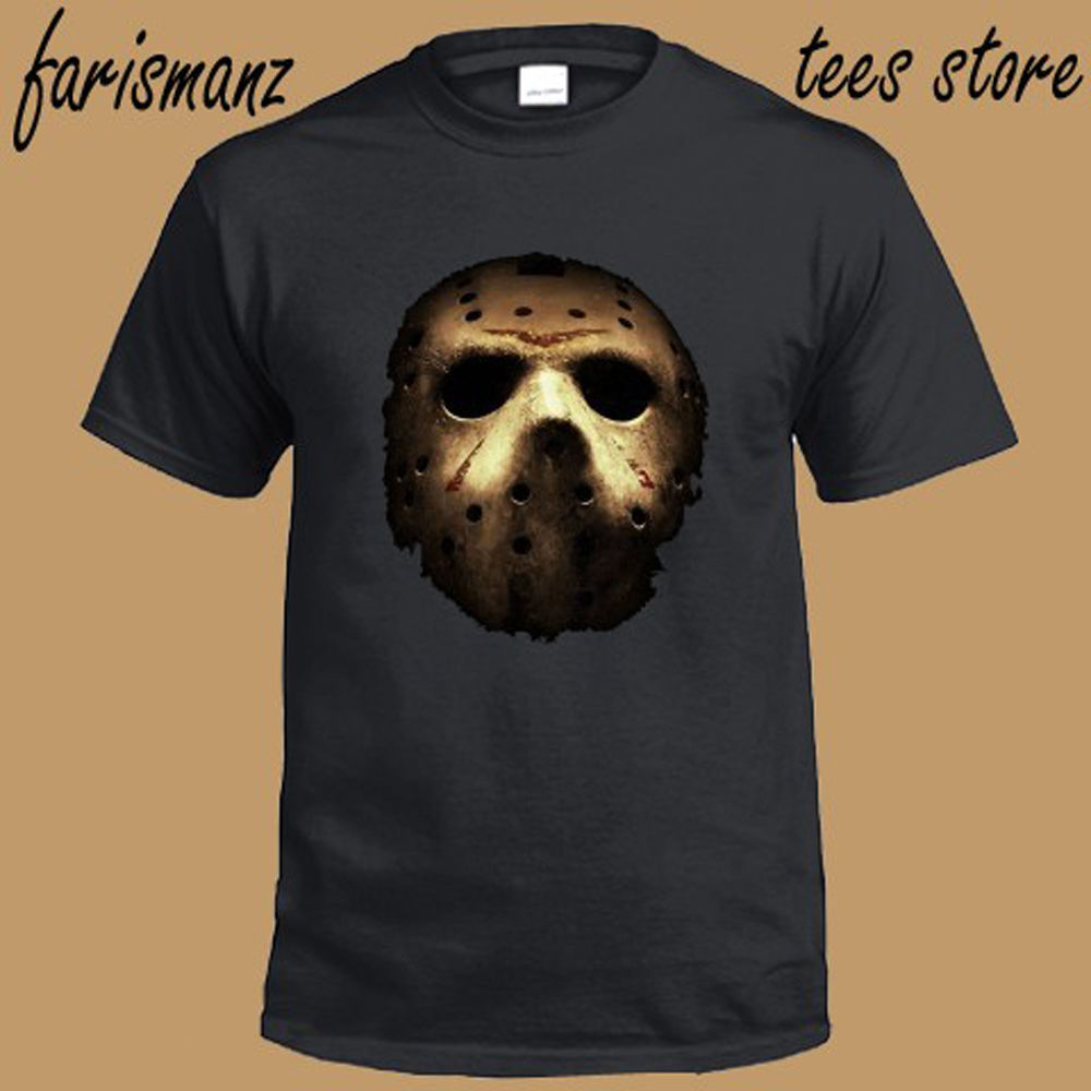 JASON Hockeyer Mask Horror Movie Friday The 13th Mens Black T-Shirt Size S to 3XL
