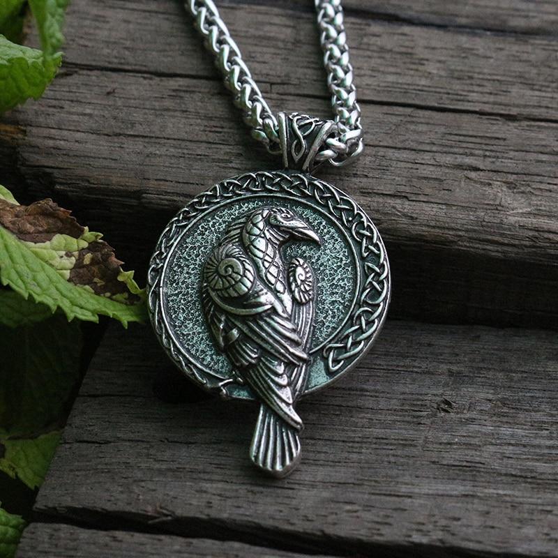 lanseis 10pcs norse talisman viking raven pendant black bird celt crow necklace men pendant jewelry