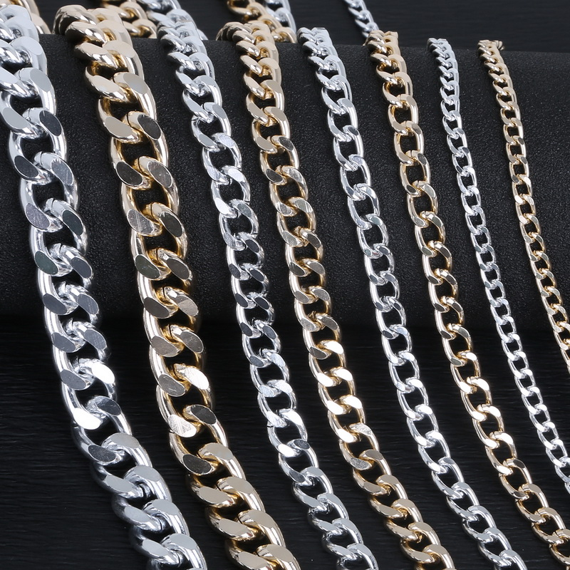 1-5 Meter/lot Rhodium/Gold/Aluminum Plated Necklace Chains Brass Bulk For DIY Jewelry Making Materials 4 Size For Selection