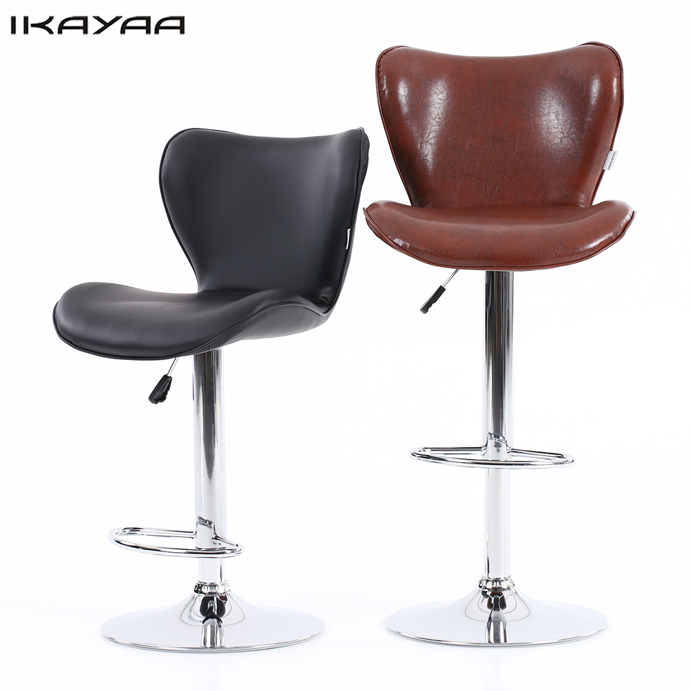Ikayaa 2pcs pu leather swivel bar chairs height adjustable for Furniture 2 u