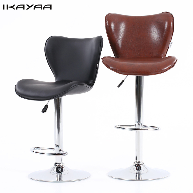 leather pub chair casters for hardwood floors ikayaa 2pcs pu swivel bar chairs height adjustable pneumatic counter furniture us fr de stock