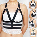 Handmade harajuku style women's body harness open chest cage bra elastic cage harness 90's fetish wear cupless bra O0083
